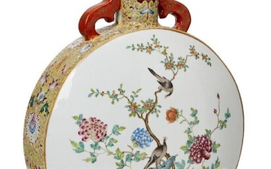 A Chinese porcelain moon flask, Republic period, painted in famille...