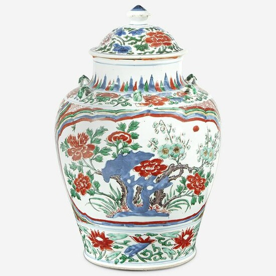 A Chinese wucai-decorated porcelain jar and cover