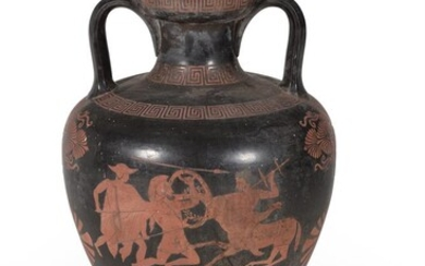 A Continental cold-painted terracotta copy of an Attic type vase