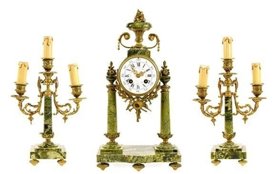 A French Green Marble Portico Striking Mantel Clock with Garniture,...