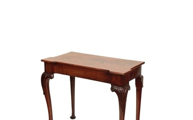 A GEORGE II STYLE MAHOGANY SIDE TABLE the inverted breakfron...