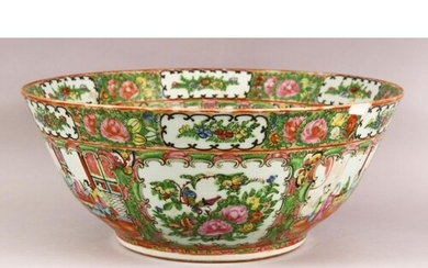 A LARGE 19TH CENTURY CHINESE CANTON FAMILLE ROSE PORCELAIN B...