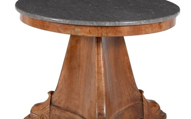 A Louis Philippe walnut and marble topped centre table