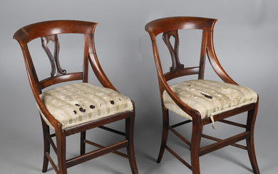 A PAIR OF LATE VICTORIAN MAHOGANY SIDE CHAIRS.