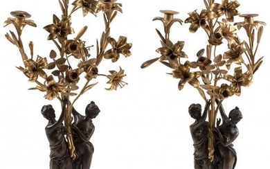 A Pair of French Napoleon III Gilt Bronze and Pa