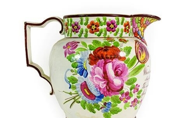 A Pearlware Jug, dated 1828, of ovoid form, initialled JR...