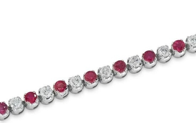 A RUBY AND DIAMOND BRACELET in 18ct white gold