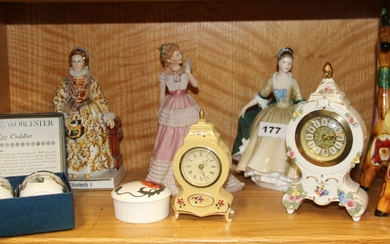 A Royal Doulton figure of 'Elegance' HN2261 together with a wedgwood figure 'Enchanted Evening' a porcelain figure of Queen Elizabeth I and