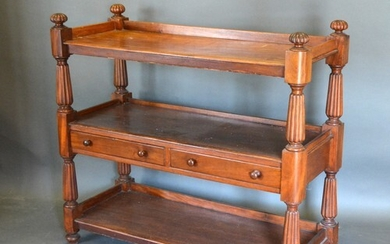 A Victorian Mahogany Buffet, the low galleried top above two...