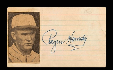 A Vintage Rogers Hornsby Signed Autograph Index Card