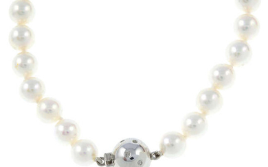 A cultured pearl necklace with 18ct gold diamond clasp.