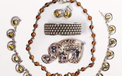 A group of sterling silver jewelry