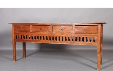 A hardwood dresser having four drawers with ring handles, ab...