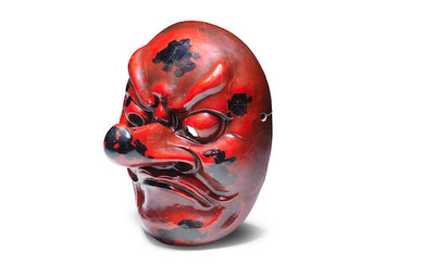 A lacquered-wood Noh mask of a tengu (mountain-dwelling demon)