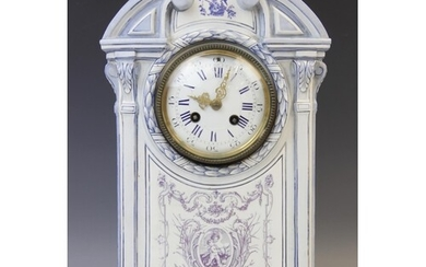 A late 19th century French porcelain faience clock signed 'G...