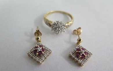 A pair of 9ct gold earrings and a 9ct gold ring, size N, tot...