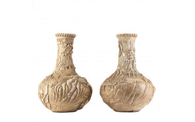 """A pair of """"Ge"""" tipe glaze vases, relief decorated in sculptural way with figures, pagodas and shrubs (defects and restorations)…Read more"""