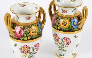 A pair of Spode Copeland's china two handled urns