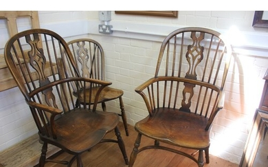A pair of early 20th century elm, ash, and beech Windsor elb...