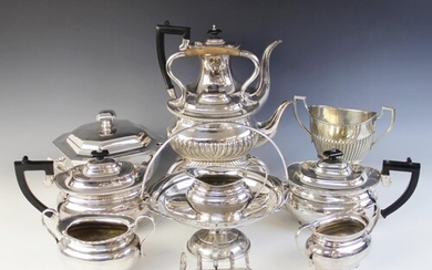 A selection of silver plated tableware, to include; a three-...