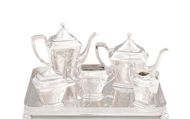 AN AMERICAN STERLING SILVER FIVE-PIECE COFFEE AND TEA SERVICE