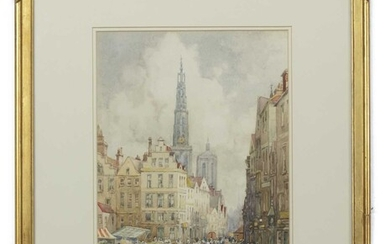 ANTWERP CATHEDRAL OF OUR LADY, A WATERCOLOUR BY J R MILLER