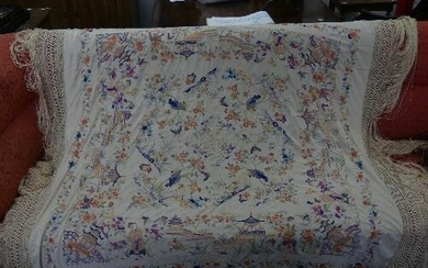 An early 20thC Chinese large silk embroidered Piano Shawl, t...