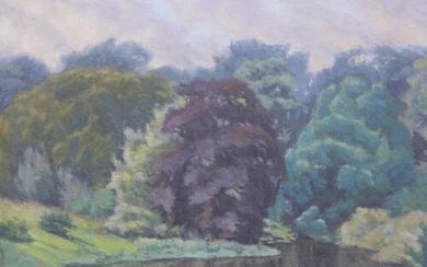 An oil on board of Kilmarnock Park, signed indistinctly and ...