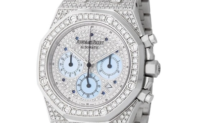 Audemars Piguet. Very Elegant and Precious Royal Oak Automatic Chronograph Wristwatch in White Gold and Full Diamonds, Reference 25978BC, With Box and Papers