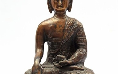 (-), Bronze statue of a seated Buddha, early...