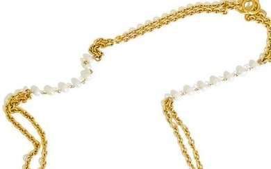 Chanel Gold Double Chain Link Necklace with Pearls