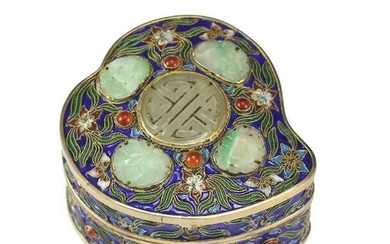 Chinese Gilt Silver Cloisonne Box with Jade Medallions