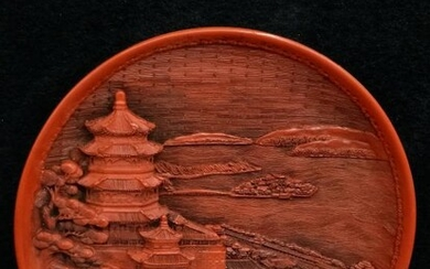 Chinese Red Cinnerbar Plate