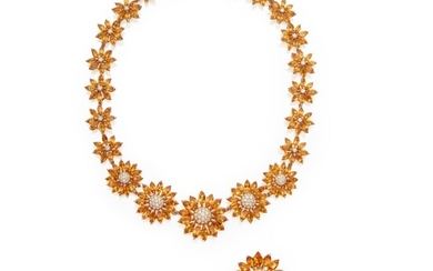 Citrine and Diamond Necklace and Pair of Earclips, France, Asprey