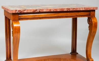 Continental Walnut Console Table with Specimen Marble