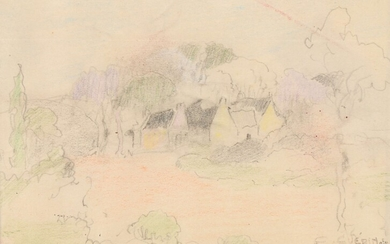 """Ernest GUERIN (1887-1952) """"Study of landscape with thatched cottages"""" colored pencils cabd 13x9.5"""