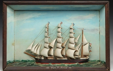 FOLK ART DIORAMA OF THE FOUR MASTED WILLIAM P. FRYE