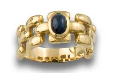 GOLD RING WITH SAPPHIRE LINKS