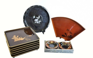 GROUP OF ASIAN LACQUER TRAYS & DISHES