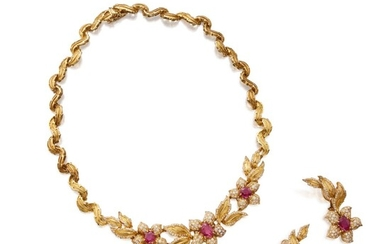 Gold, Ruby and Diamond Necklace and Pair of Earclips
