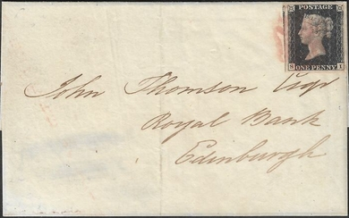 Great Britain 1840 - Very rare ruby Maltese Cross from Aberdeen on One Penny Black. - Yvert 1