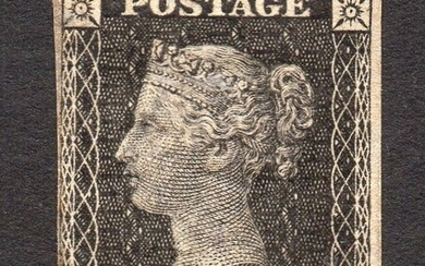 Great Britain - QV 1865 1d Royal Reprint Plate Proof in Black Plate 66 - Stanley Gibbons SG Spec DP35