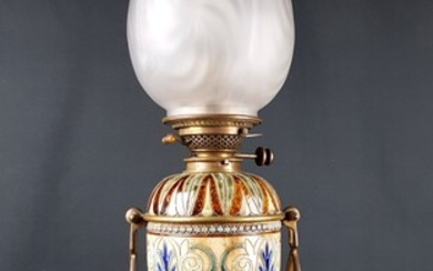 HINKS & SON'S PATENT - LAMP, stoneware enamelled shaft with...
