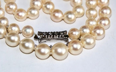 High quality - 14 kt. Akoya pearls, White gold - Necklace Pearls - Diamonds