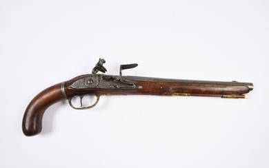 """IMPORTANT PISTOL.Flat-bodied flintlock with nicely engraved figures. Long barrel and removable stock allowing to adapt a long stick. Posterior ramrod. Decorated bronze fittings. The barrel and lock are signed """"CASPAR ZERNER A WIEN"""". Restorations to..."""