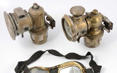 Motor Cycling lamps and goggles including Joseph Lucas