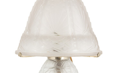 Muller Frères Art Deco Frosted Glass Lamp