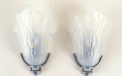 PAIR FRENCH ART DECO WALL SCONCES FROSTED GLASS