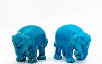 PAIR OF TURQUOISE STANDING PORCELAIN ELEPHANTS