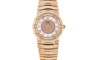 PIAGET, PINK GOLD AND DIAMOND-SET WITH MOTHER-OF-PEARL DIAL